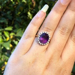 Jewelry - Amethyst, Gold, and Diamond Ring